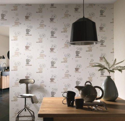 vliestapete erismann la maison 6874 11 687411 kaffee k che creme braun silber k che. Black Bedroom Furniture Sets. Home Design Ideas