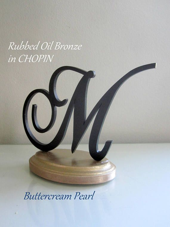 Wood Monogram AZ Letter Cake Topper Painted Cake Topper  Rubbed