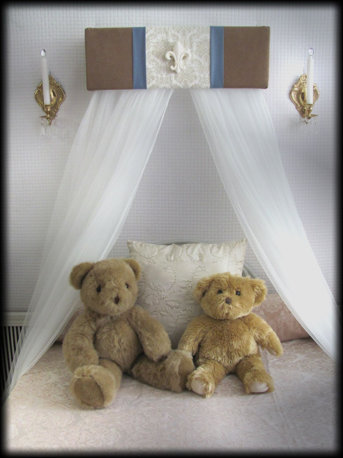 Boys Nursery crib bedroom Tan blue Damask canopy Cornice PRINCE Upholstered SALE by SoZoeyBoutique on Etsy : canopy cornice - memphite.com