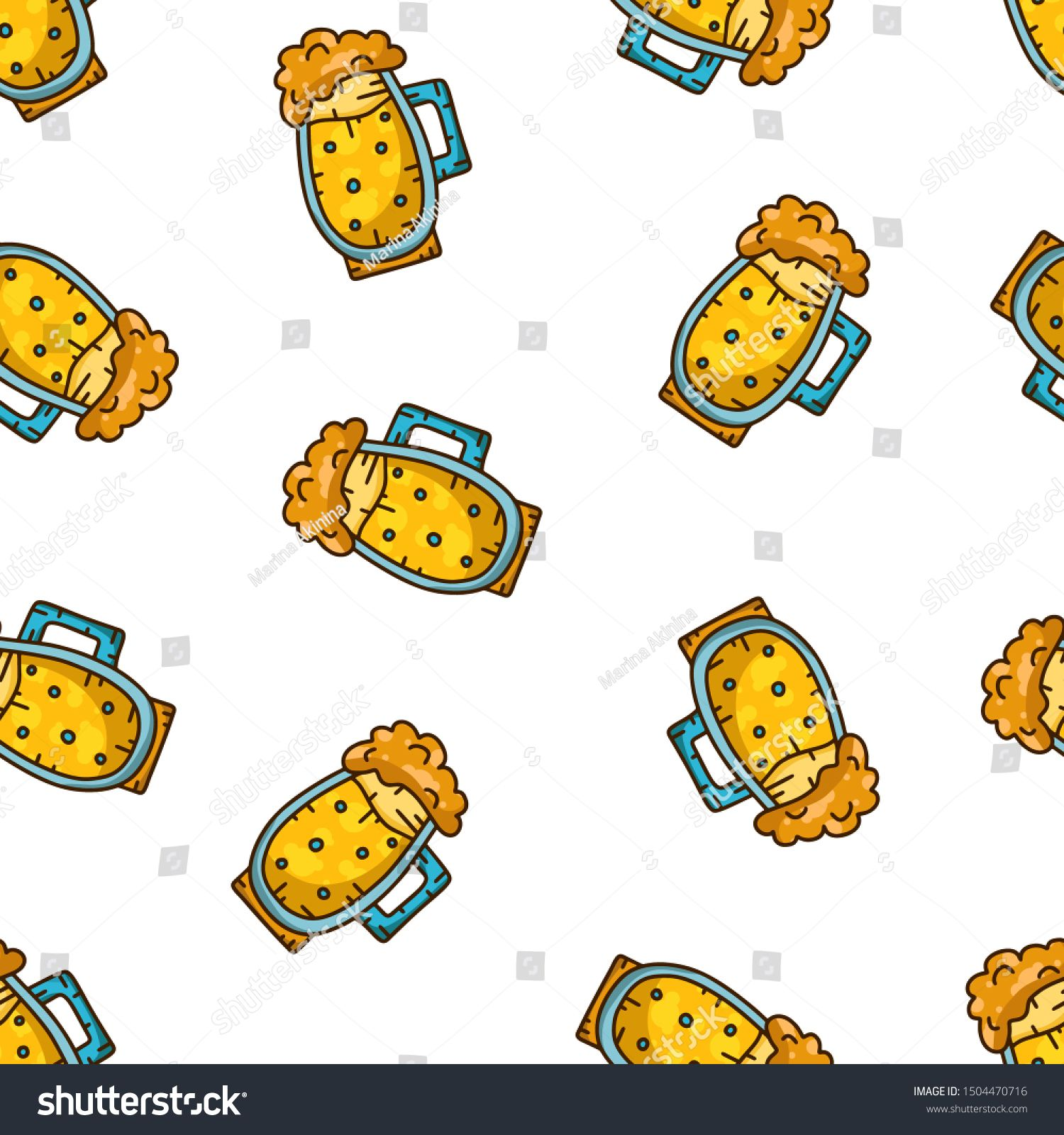 Color seamless food pattern. Products texture. Hand drawn pint on white background. Doodle vector illustration for drinks, beer packaging, fabric. Mug of beer with foam #Sponsored , #AD, #Hand#texture#drawn#white