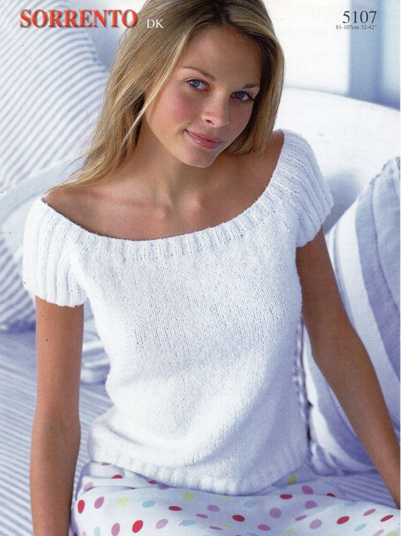 Knitting Patterns Summer Tops : womens knitting pattern womens top short sleeve sweater summer top ladies top...