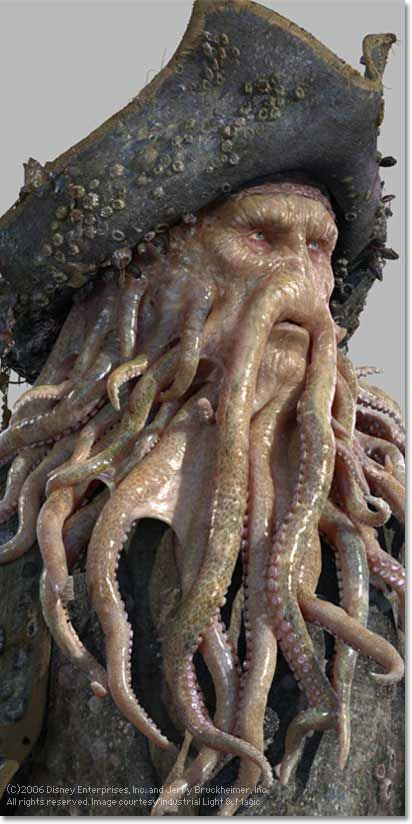 Davy Jones (Pirates of the Caribbean 2-3) played by Bill