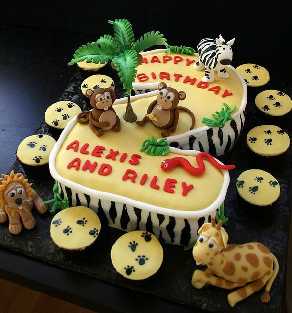 Jungle Themed Second Birthday Cake With Fondant Animals And Palm Tree By The Boutique Via Flickr