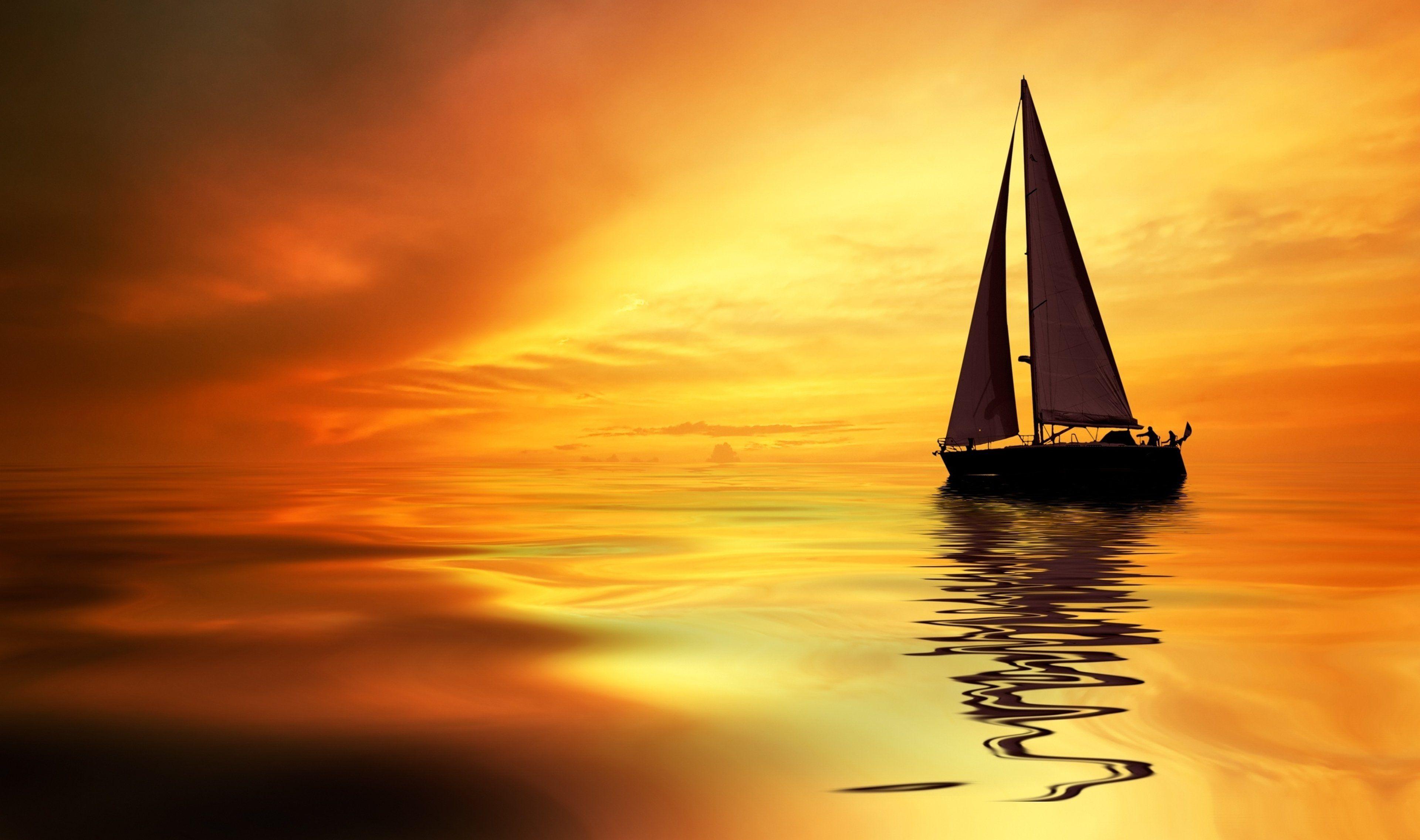 sea ocean boat yacht sky clouds sunset orange landscapes