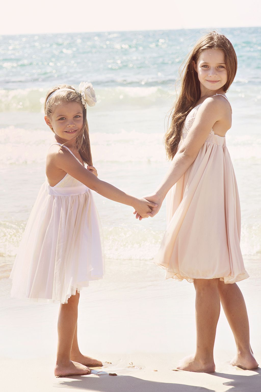 Blush pink lace and silk tulle dress flower girl dress