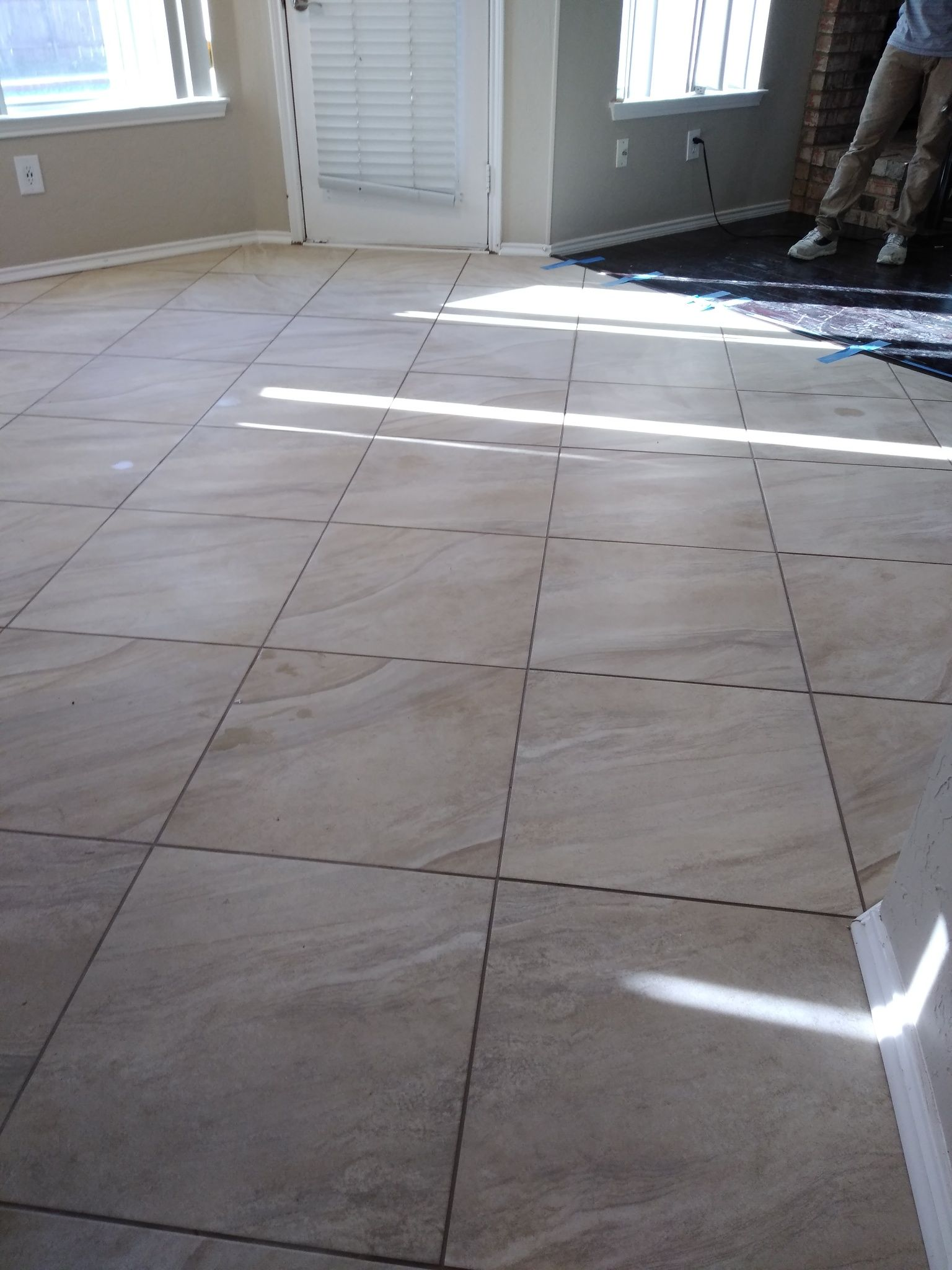 20x20 Tile Laid On Diagonal Pattern In Small Bathroom Stone