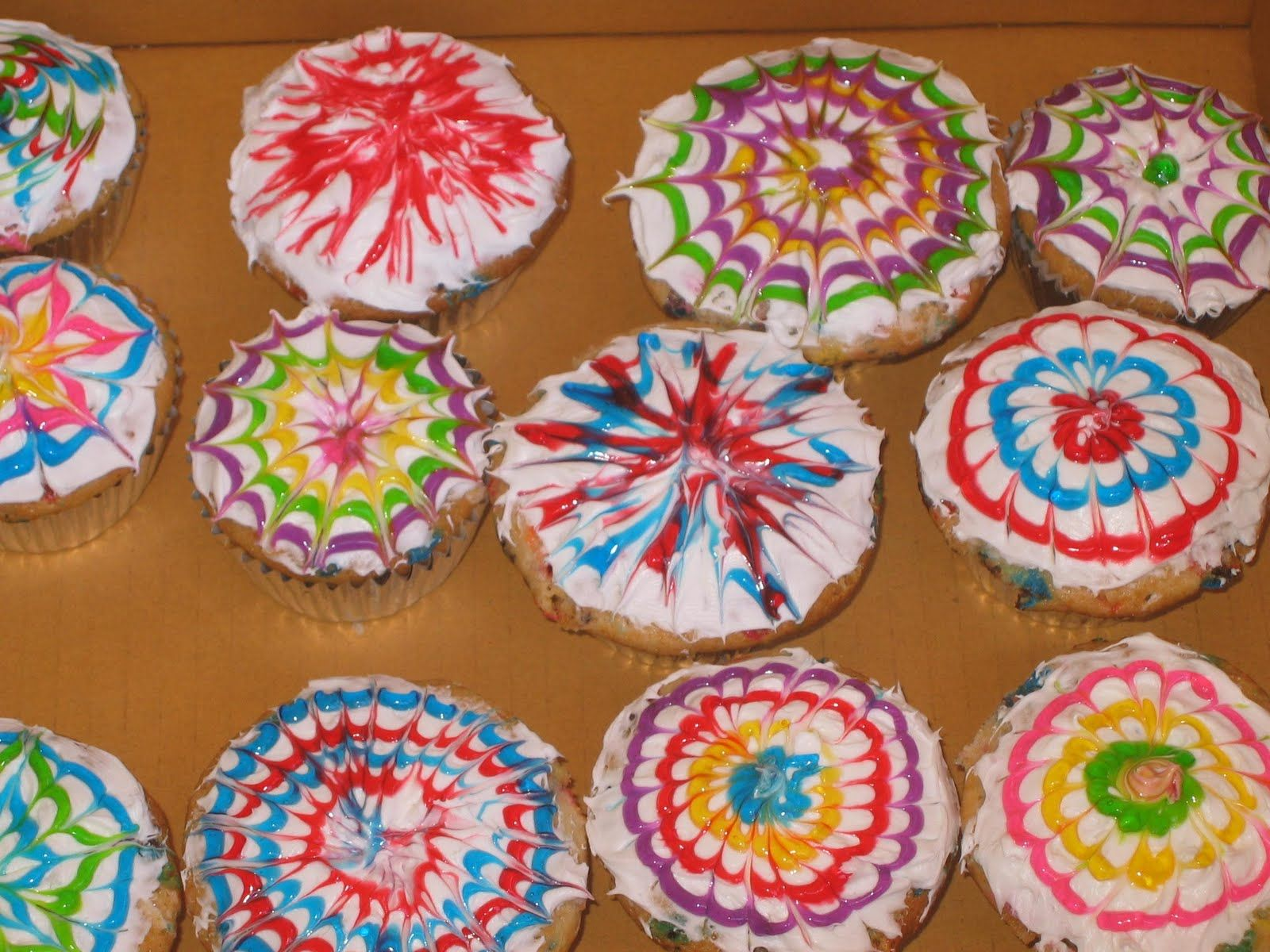 Fireworks Cupcakes -- super easy and colorful   Fireworks ...