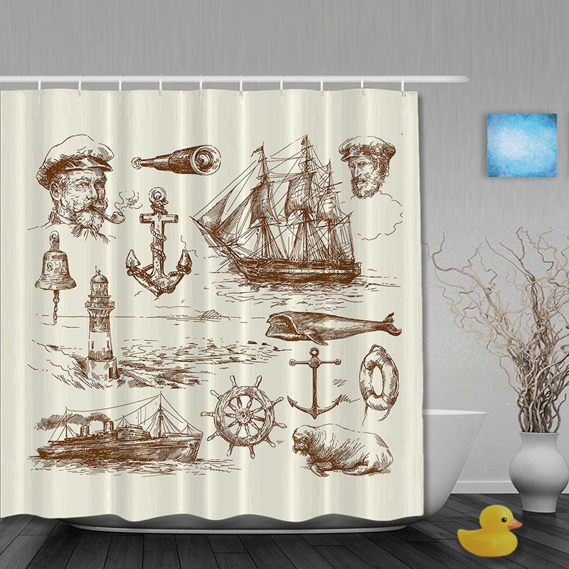 Pirate Sailboat Shower Curtain Anchor Telescope Bathroom Curtains Waterproof Polyester Fabric Hooks