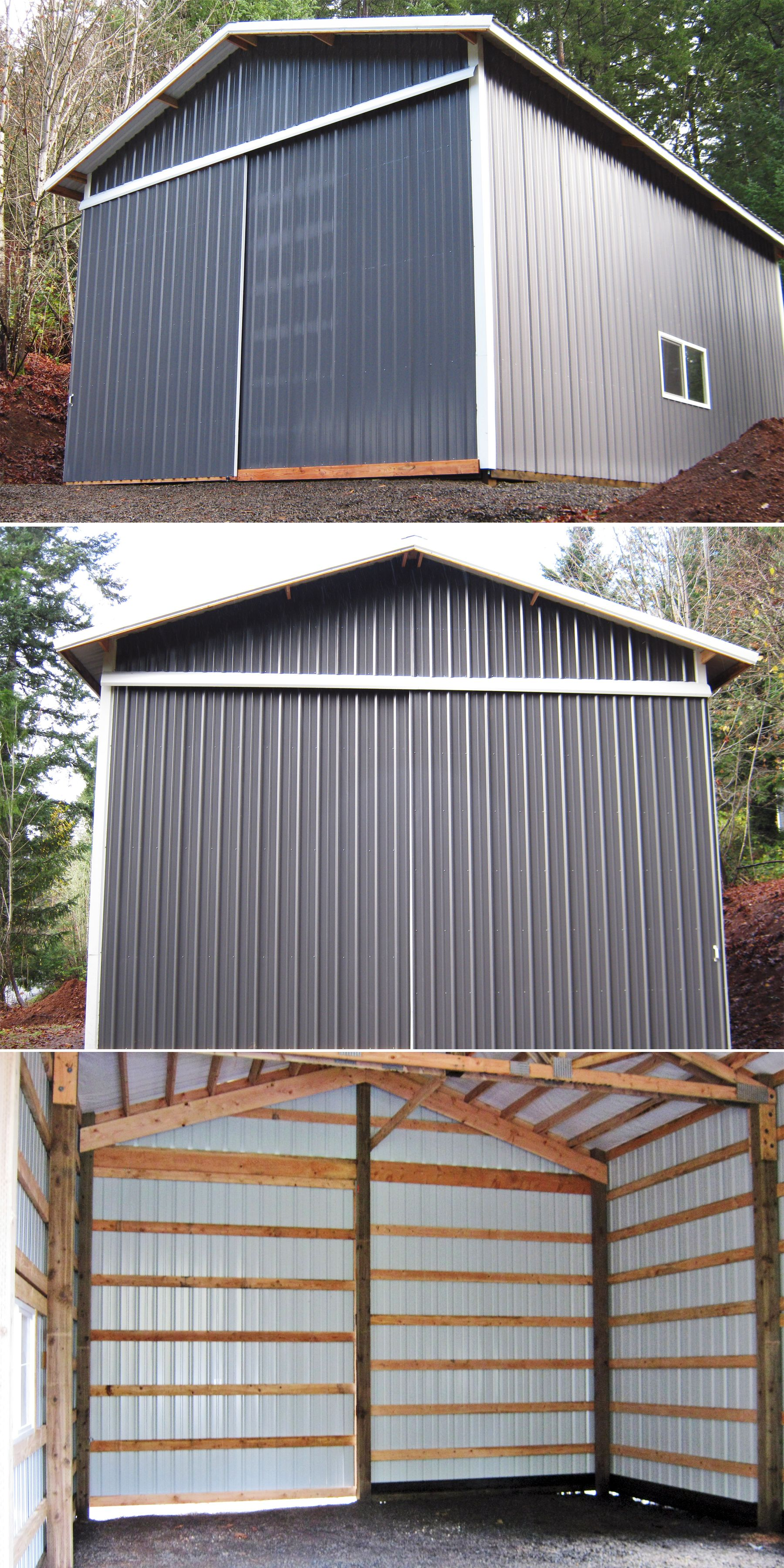 24 X 36 X 16 Pole Building With Slider Door Overhang And 6 X 3 Window Www Econofabbuildings Com Pole Buildings Barn Frame Pole Barn Construction