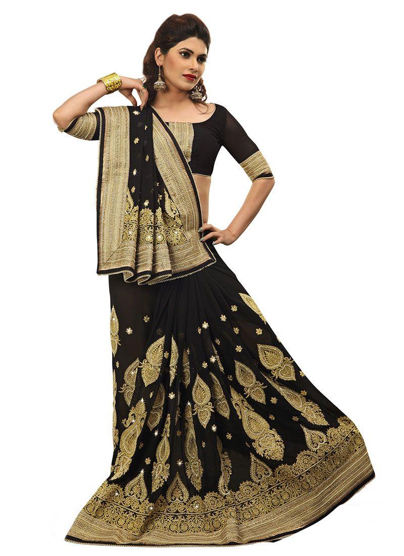 Black Embroidered Georgette Half N Half Saree
