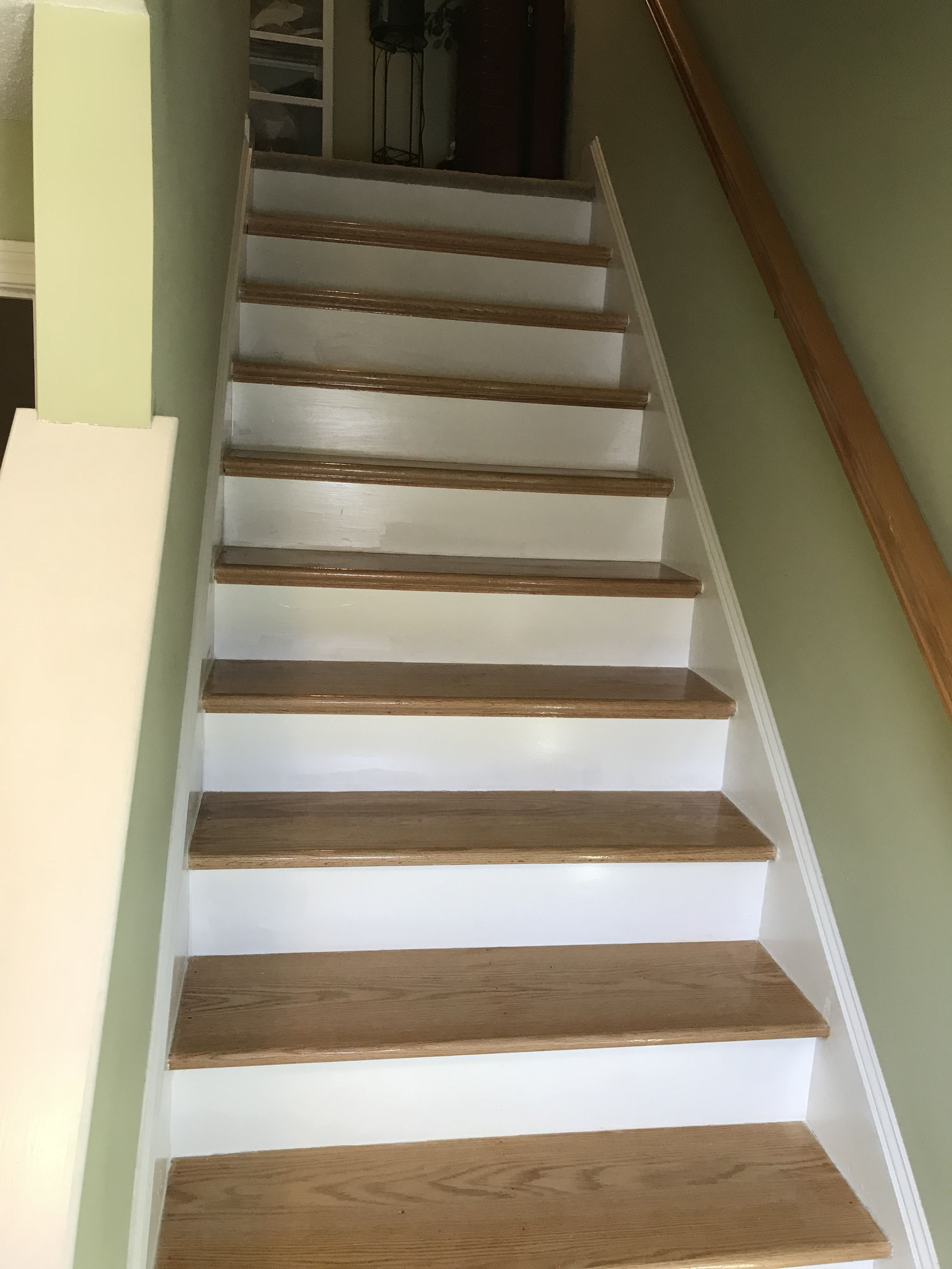 Custom Built Red Oak Stair Treads Built And Installed By | Hardwood Steps For Stairs | Modern White Oak Stair | Cover | Iron Baluster | Unfinished | Staircase