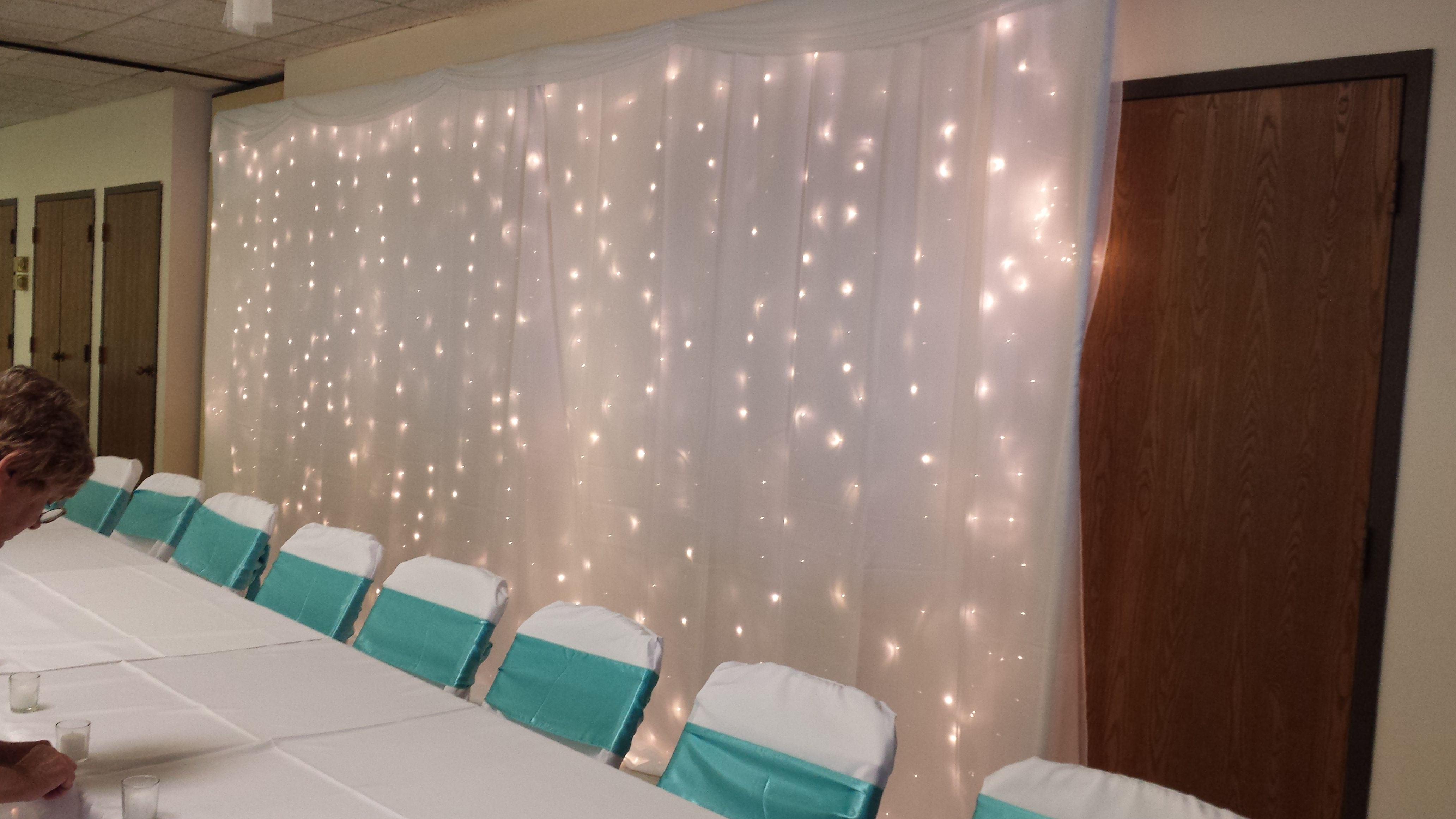 Fairy Light Backdrop With White Sheer Curtains White Sheer Curtains Light Backdrop Fairy Light Backdrops