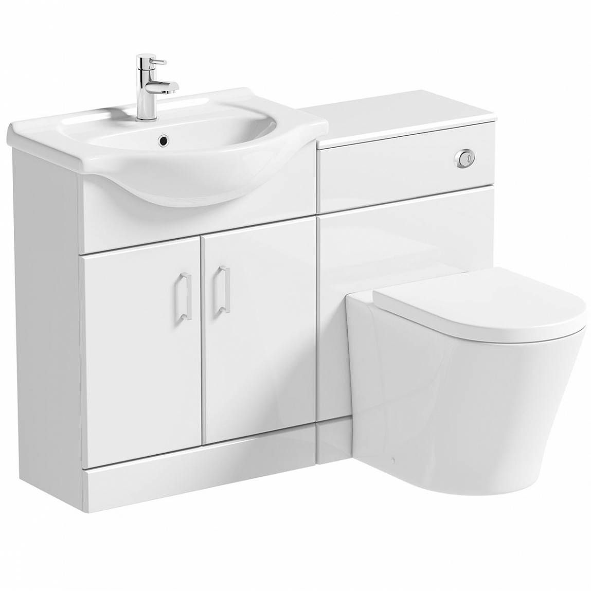 Sienna white combination unit with arte back to wall - Bathroom combination vanity units ...