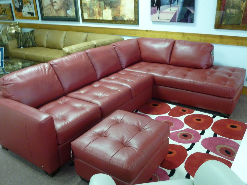 Furniture Living Room L Shaped Red Suede Sectional Corner Sofa With Chaise And Square Tufted Ottoman