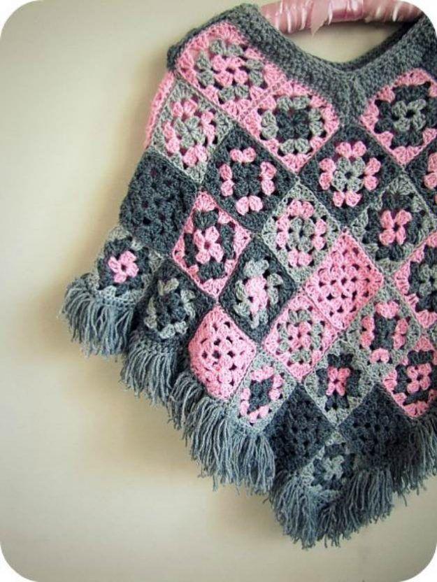 17 Easy Crochet Poncho Patterns for Women #grannysquareponcho
