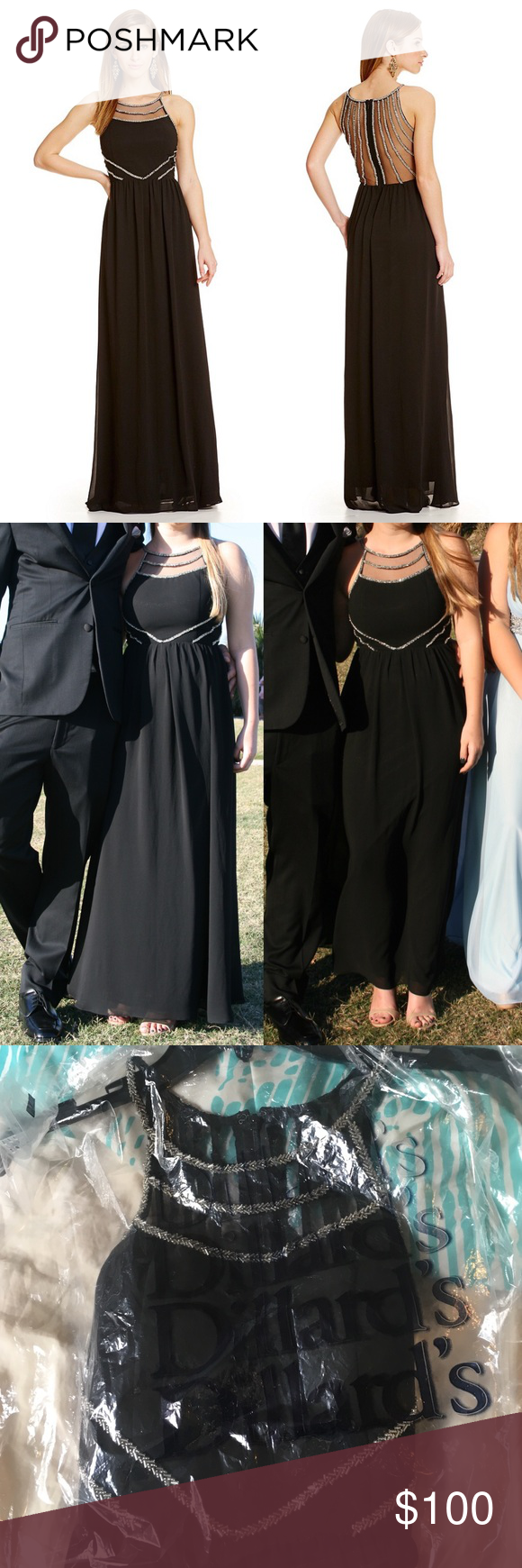 Gb tailored long black prom dress worn once u in perfect condition