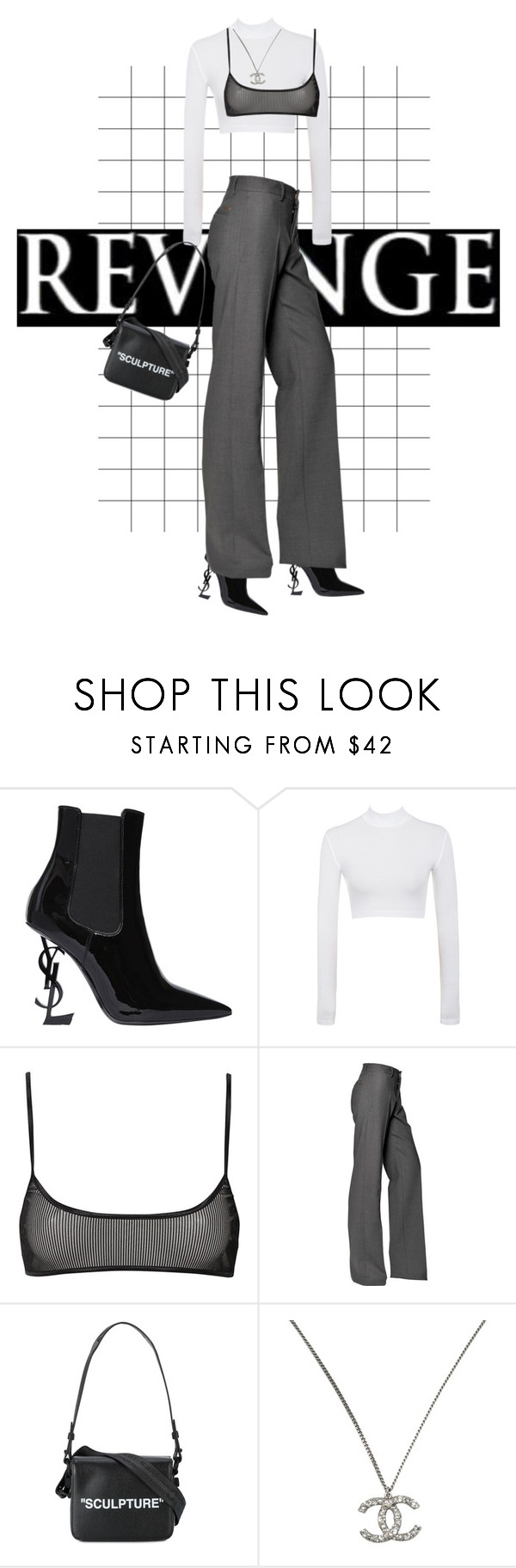 """🎱"" by sexdrugsnprada ❤ liked on Polyvore featuring Yves Saint Laurent, Dsquared2, Off-White and Chanel"