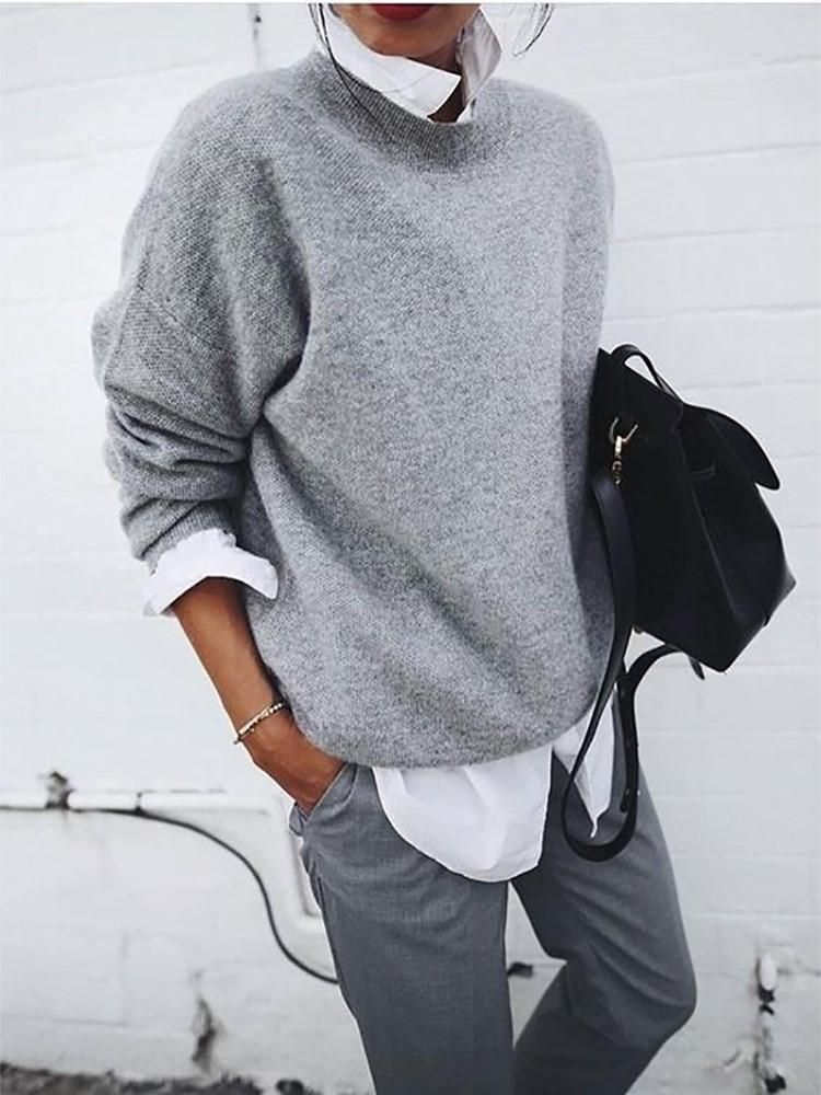 Fashion Round Neck Pure Colour Loose Sweater #runwaydetails