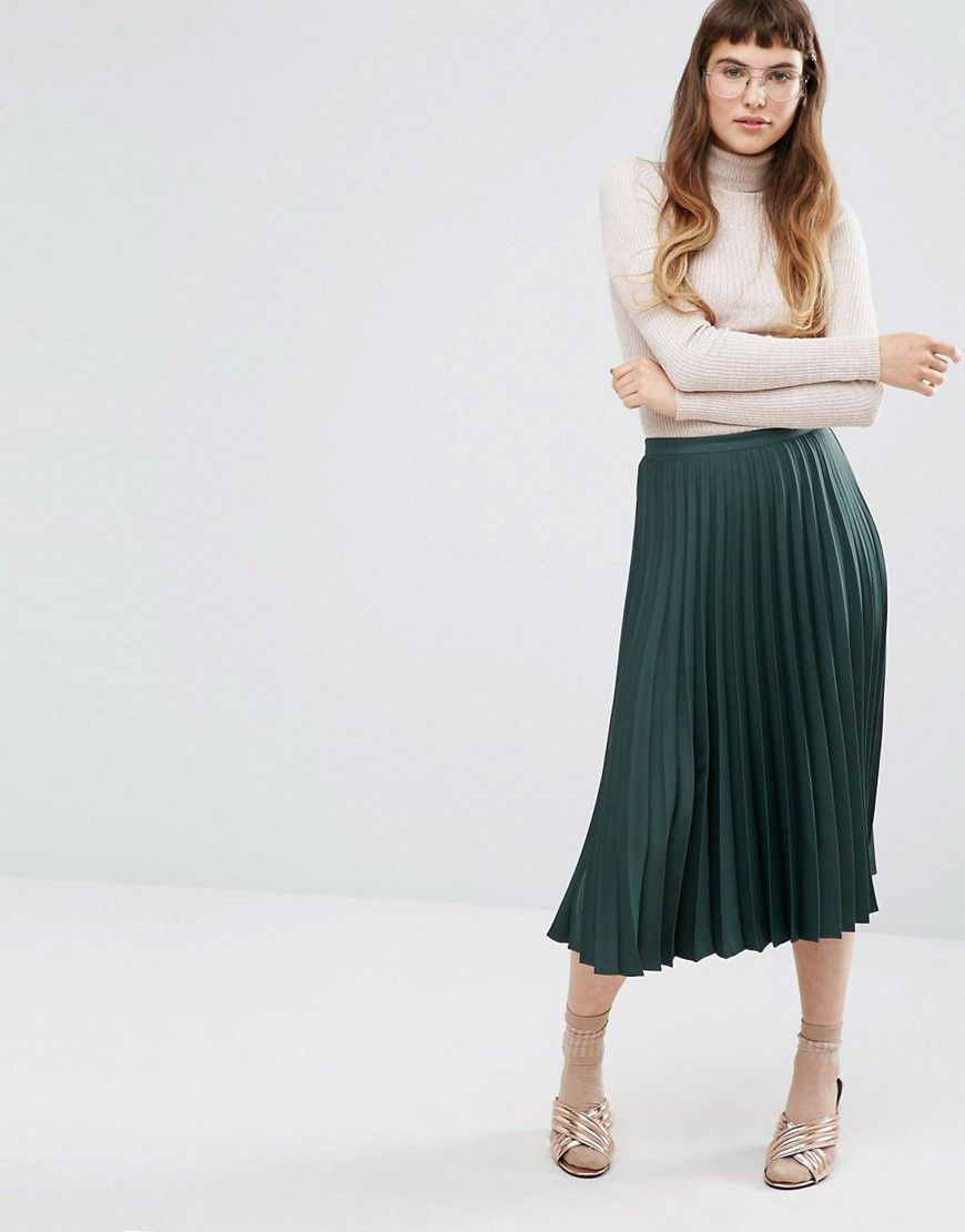 Miss Selfridge Satin Crepe Pleated Midi Skirt | Crepes, Satin and ...