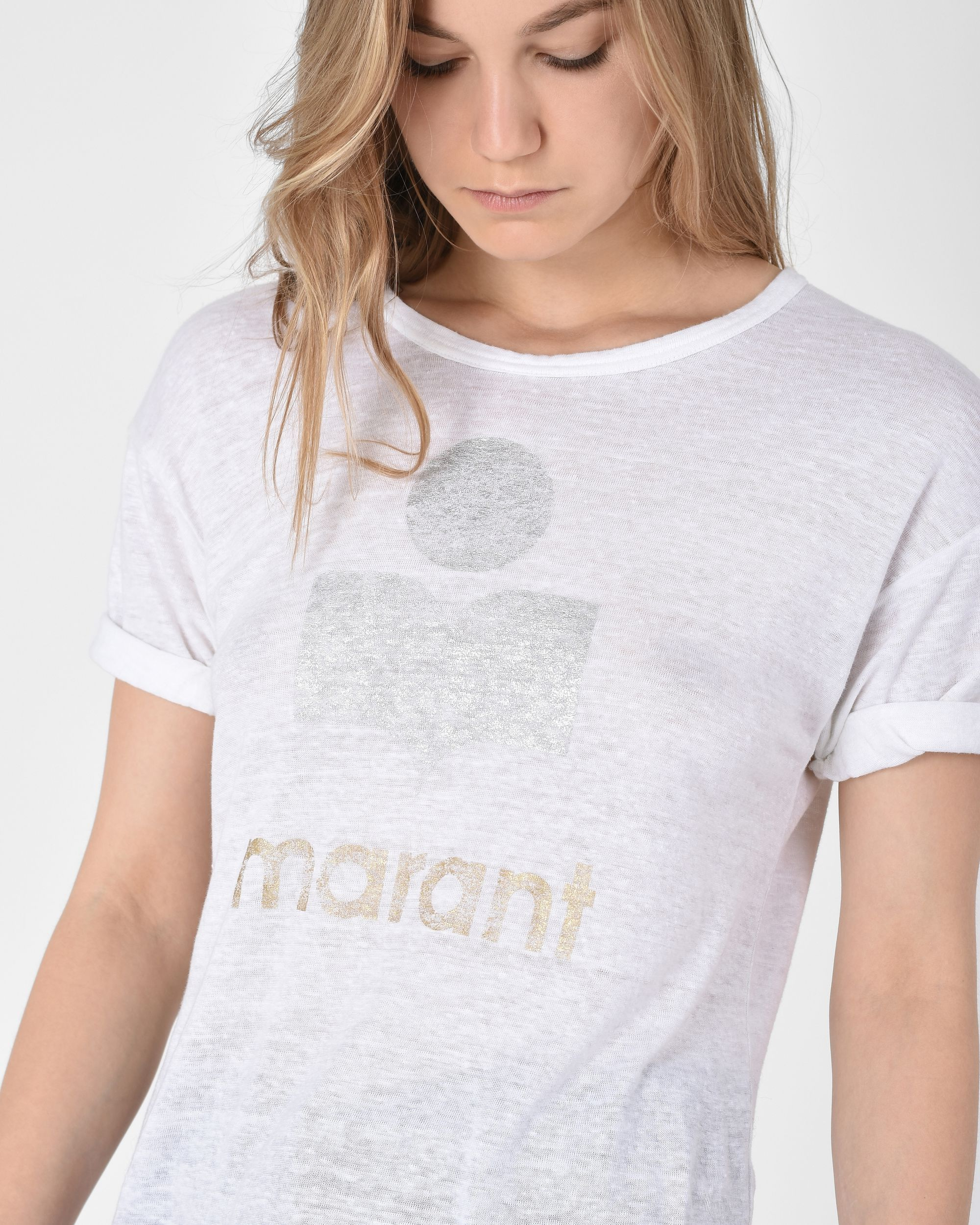 1fc238e9 Isabel Marant Koldi Short sleeved linen t shirt with metallic, printed logo
