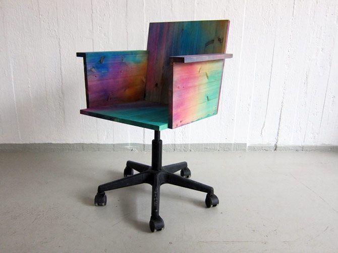 Rainbow Wooden Office Chair By Frederik Paulsen