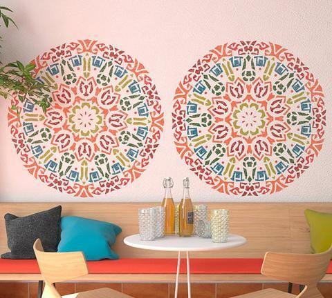 Round Decorative Mandala Style Stencil Unique Stencil For Wall Decor Stencilslab Wall Stencils