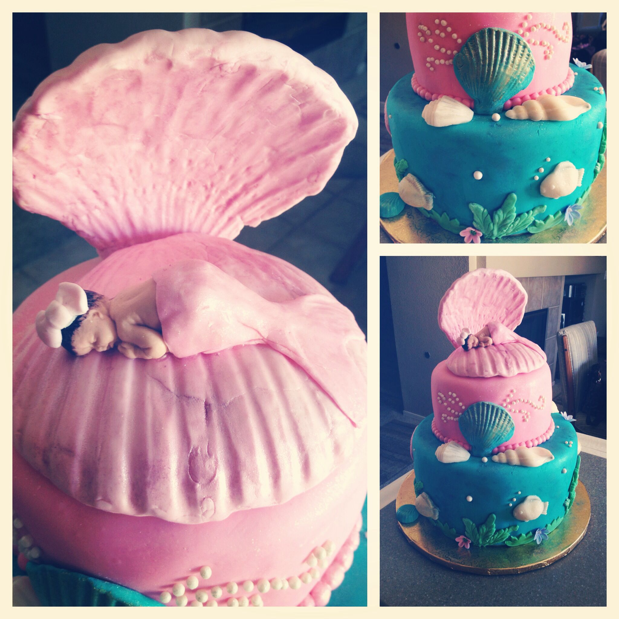 Mermaid Baby Shower Theme Cake by irissweeets Cakes