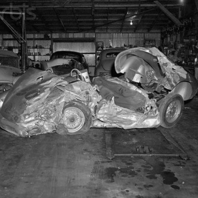 Photos Of James Dean And The Little Bastard: James Dean's Porsche In Which He Died