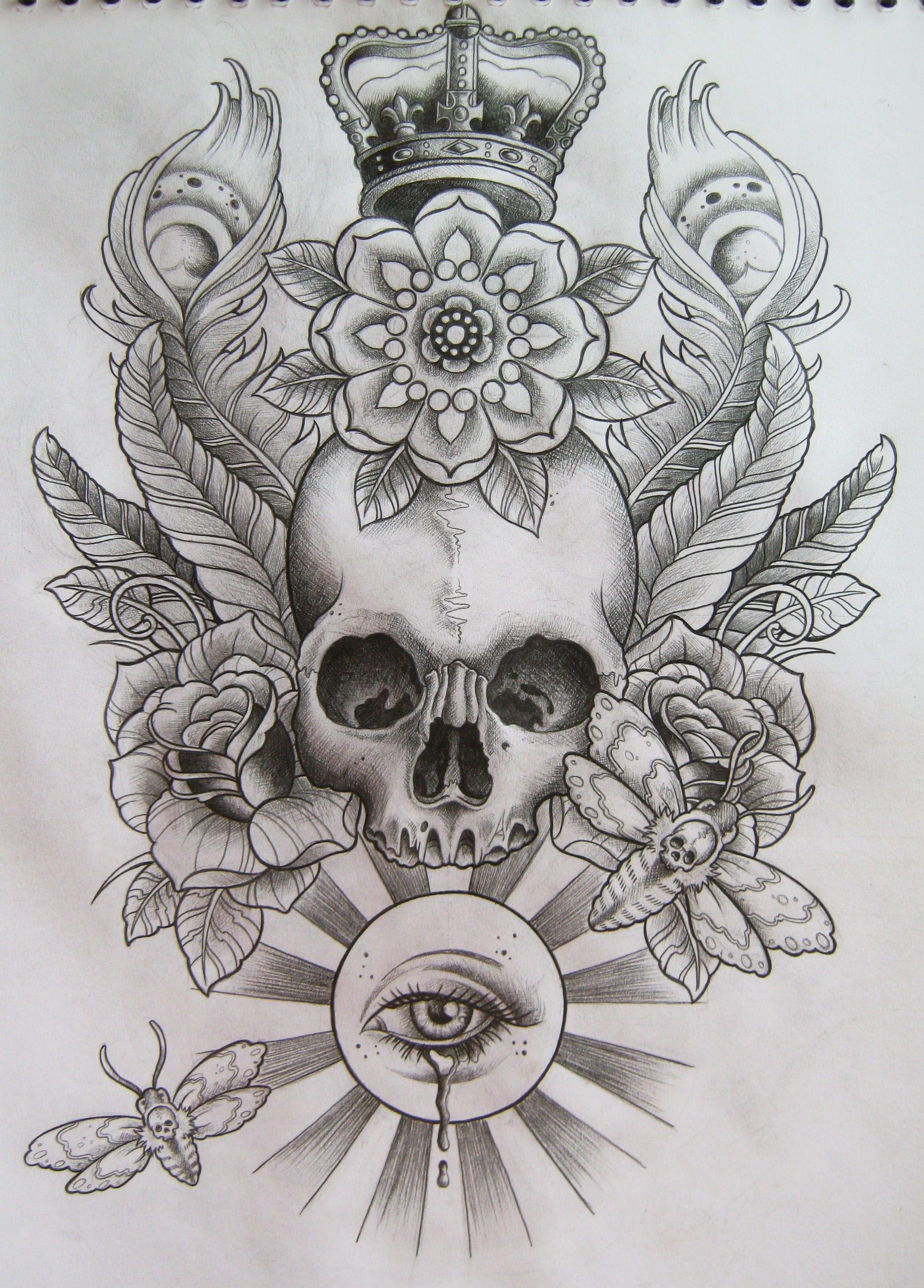 Beautiful skull tattoo pencil sketch with soft shading king crown hat big rose flower butterfly leaves and feather on background great tattoo for full