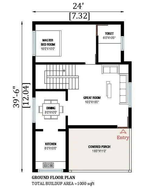 24'x40' house plan is given in this AutoCAD drawing model Download now