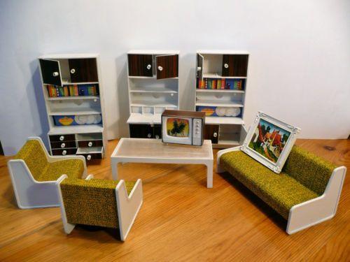 alte puppenstubenm bel wohnzimmer kunststoff 70er jahre dollhouses miniatures pinterest. Black Bedroom Furniture Sets. Home Design Ideas
