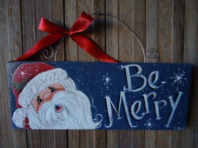 Handpainted Santa Christmas Sign. $20.00, via Etsy.