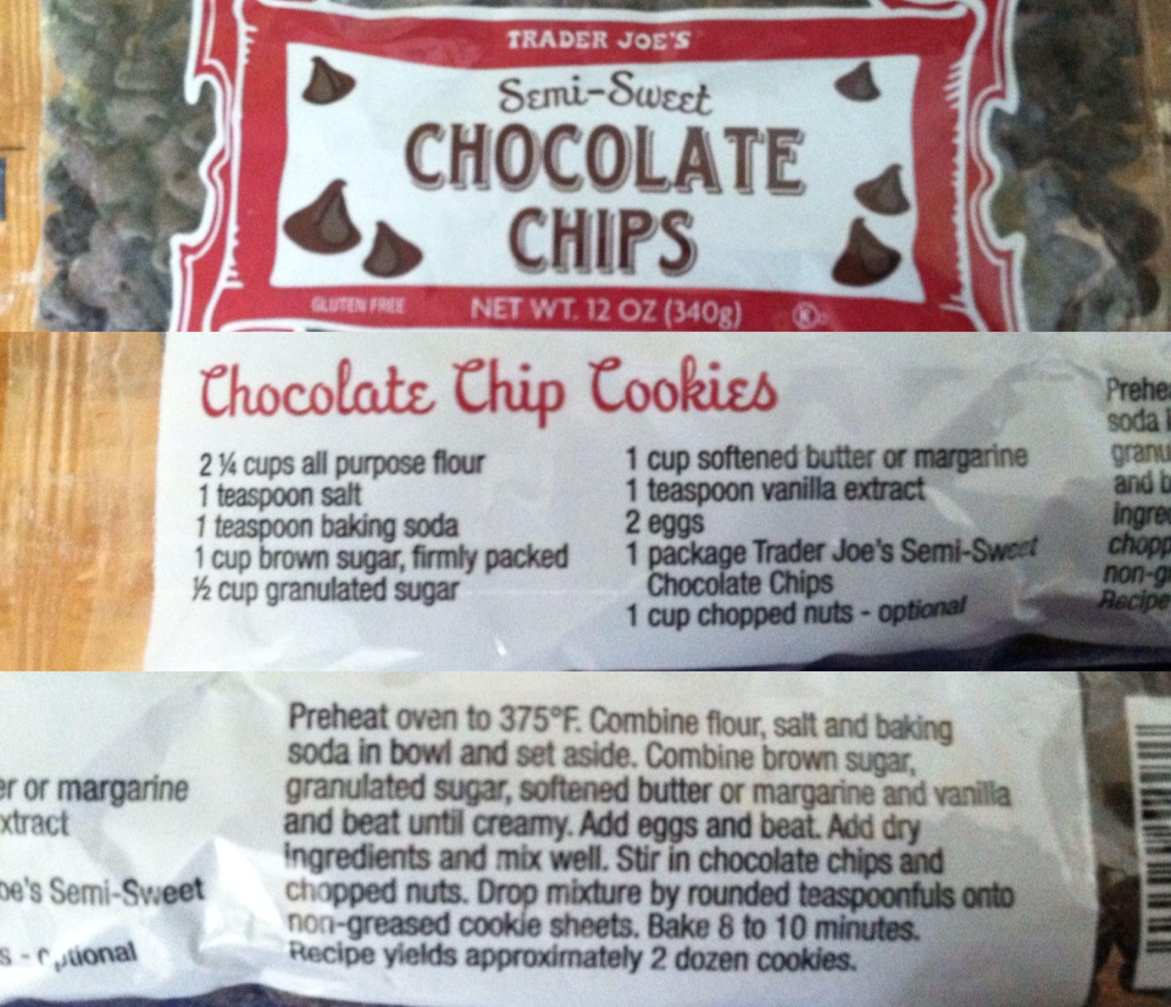 Trader Joe's chocolate chip cookie recipe   food   Pinterest ...
