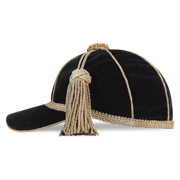 5609b9dd Gucci Velvet Cap With Tassel ($570) ❤ liked on Polyvore featuring  accessories, hats, blue, velvet hat, baseball caps, vintage style hats,  tasseled cap and ...