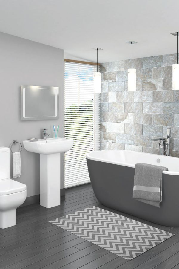 This beautiful grey bathroom design is complemented