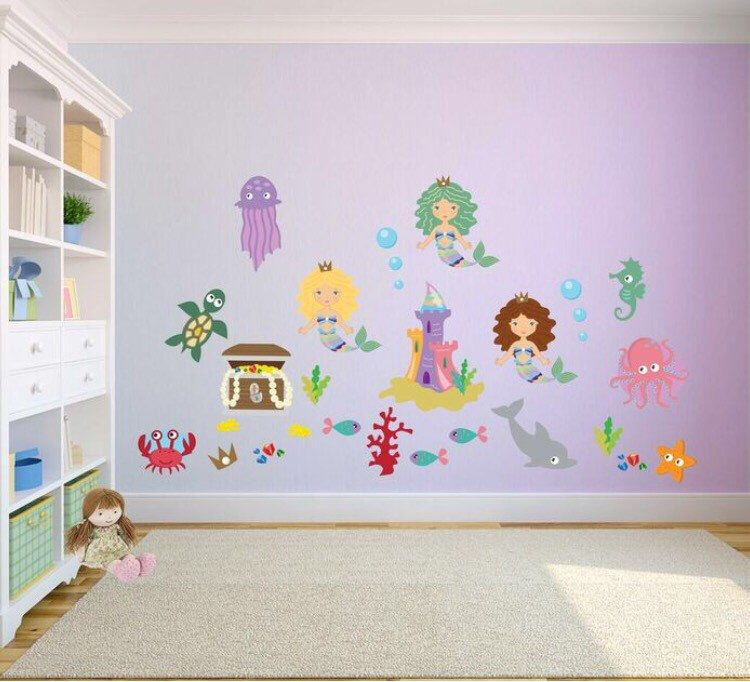 Mermaid Wall Stickers Girls Wall Decals For Bedroom Playroom