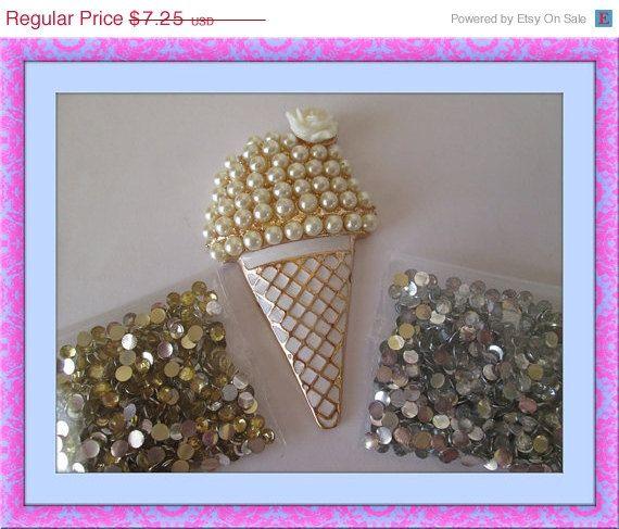 ON SALE DIY 3D alloy pearl rhinestone gold ice cream cone kawaii decoden cabochon phone deco kit, $5.44