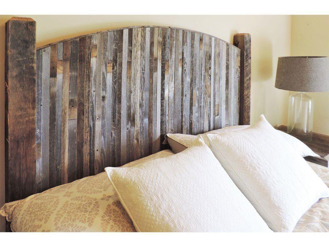Farmhouse style arched king bed barn wood headboard w narrow rustic