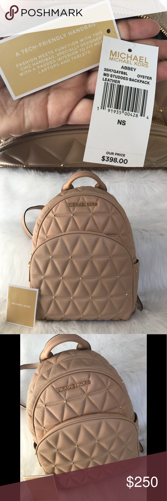 36b2d5789cd4 Michael Kors Abbey Medium gold studded backpack 🆕🆒Authentic Michael Kors  Abbey size medium backpack