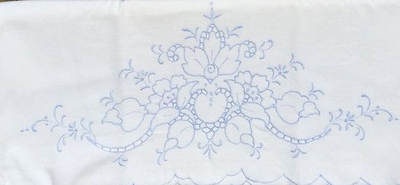 Vintage pillowcase with blue embroidery and by KeepsakesbySherie