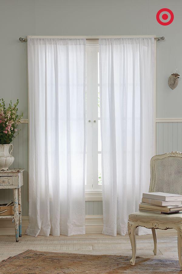 Dobby Stripe Sheer Curtain Panel White (54