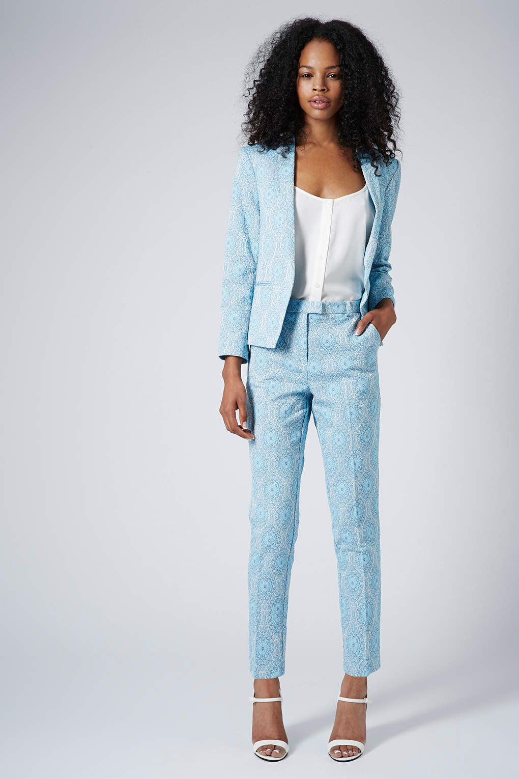 Tile Lagoon Jacquard Blazer and Cigarette Trousers - Suits and Co ...