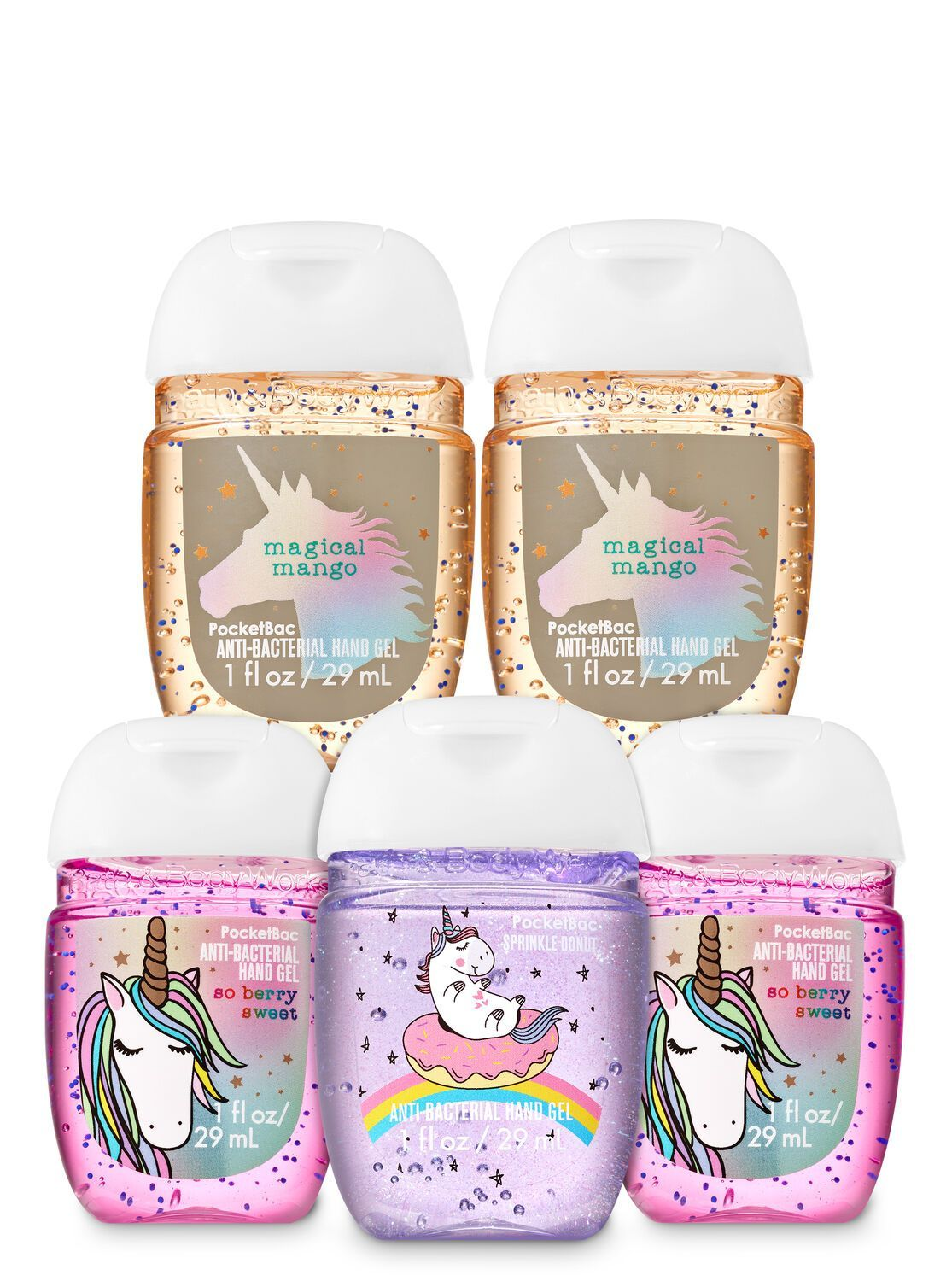 Sugar Coated Unicorns Pocketbac Hand Sanitizers 5 Pack Bath N