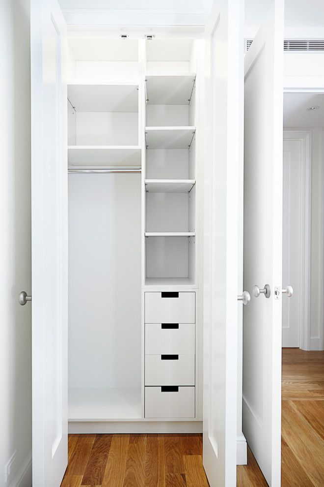 Small And Narrow Closet Organizer Idea In White Of Small Closet
