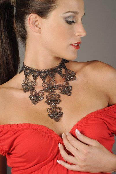 Evening elegant long black lace necklace Swarovski crystals