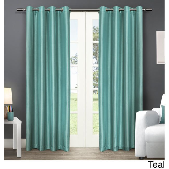ATI Home Chatra Faux Silk Grommet Top Panel Curtains (Chatra Teal - telas para cortinas
