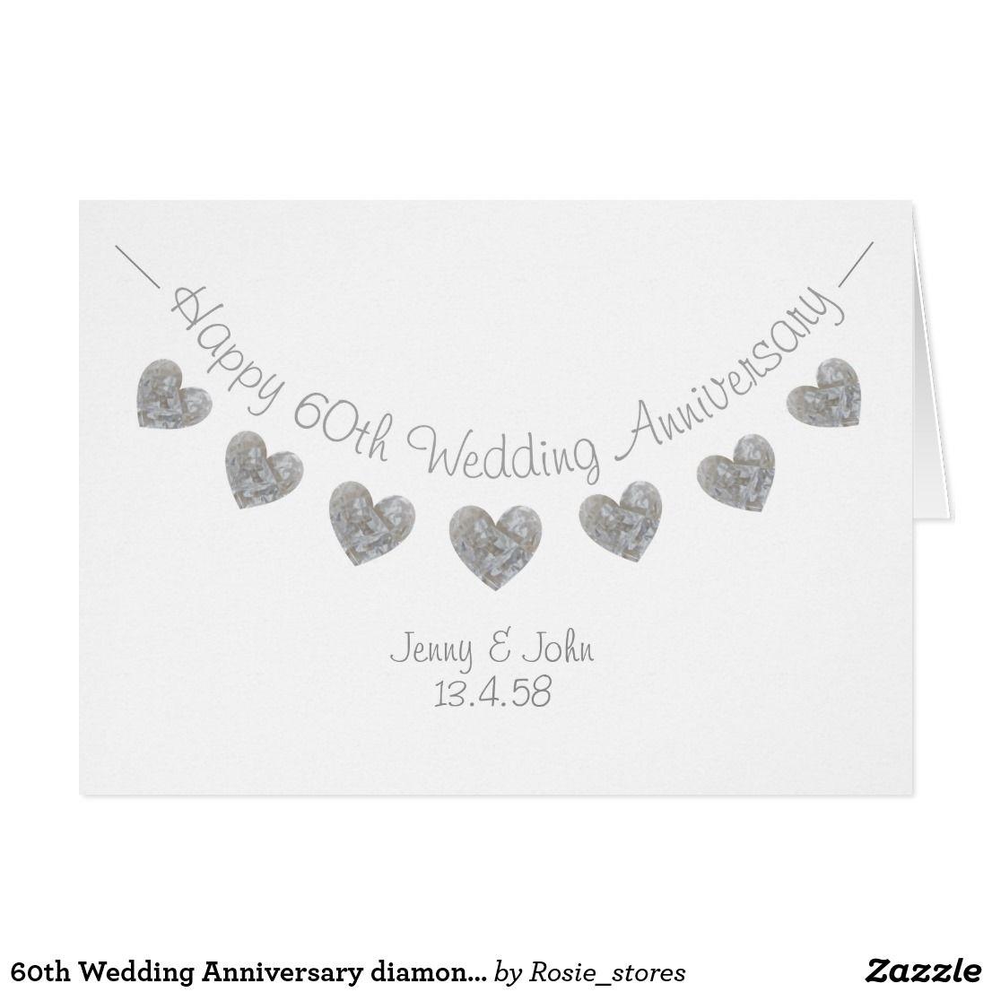 60th Wedding Anniversary diamond hearts card | Zazzle.co.uk
