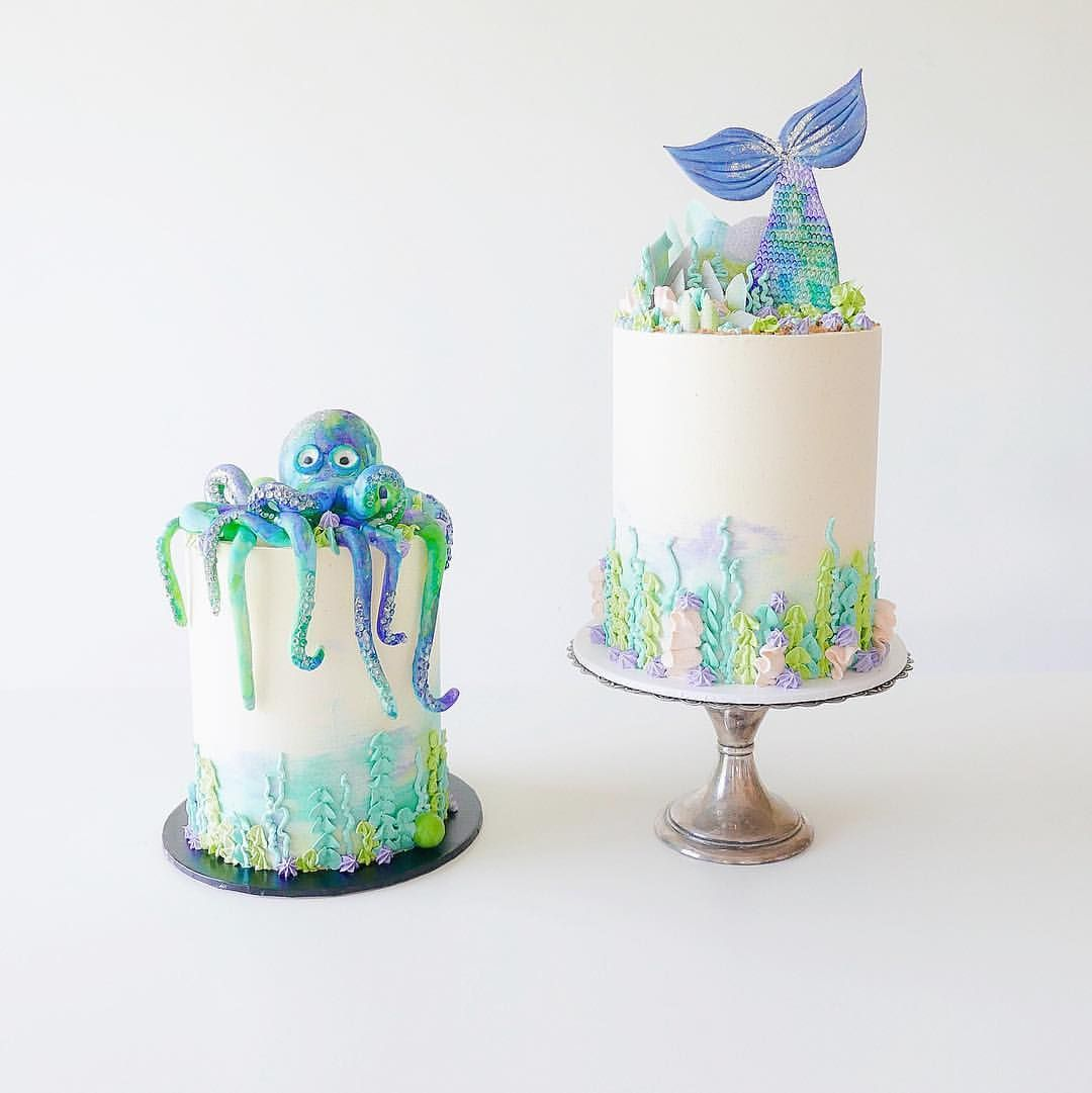 """6,735 Likes, 92 Comments - Whipped Cake Co. (@whippedcakeco) on Instagram: """"I had two under the sea themed cakes this weekend, gotta love a matching duo!  All details on the…"""""""