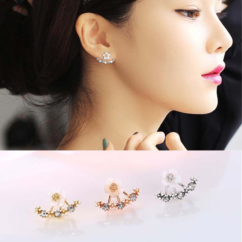 Left nose piercing vs right  Silver Toner Daisy Flower Shell Front And Back Ear Stud Earrings
