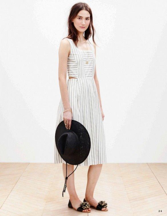 Striped cut-out dress + pompom flats // Madewell S/S 15 Lookbook